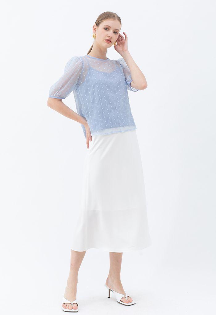 Basic Smooth A-Line Midi Skirt in White