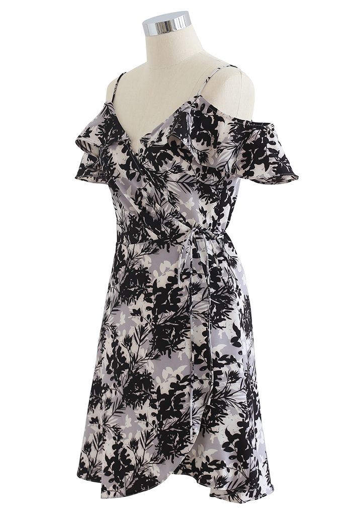 Midnight Leaves Printed Asymmetric Wrapped Cami Dress