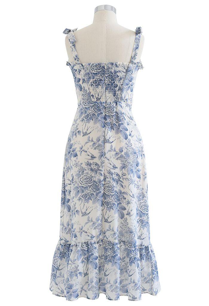 燕子玫瑰印花肩部綁帶中長裙
