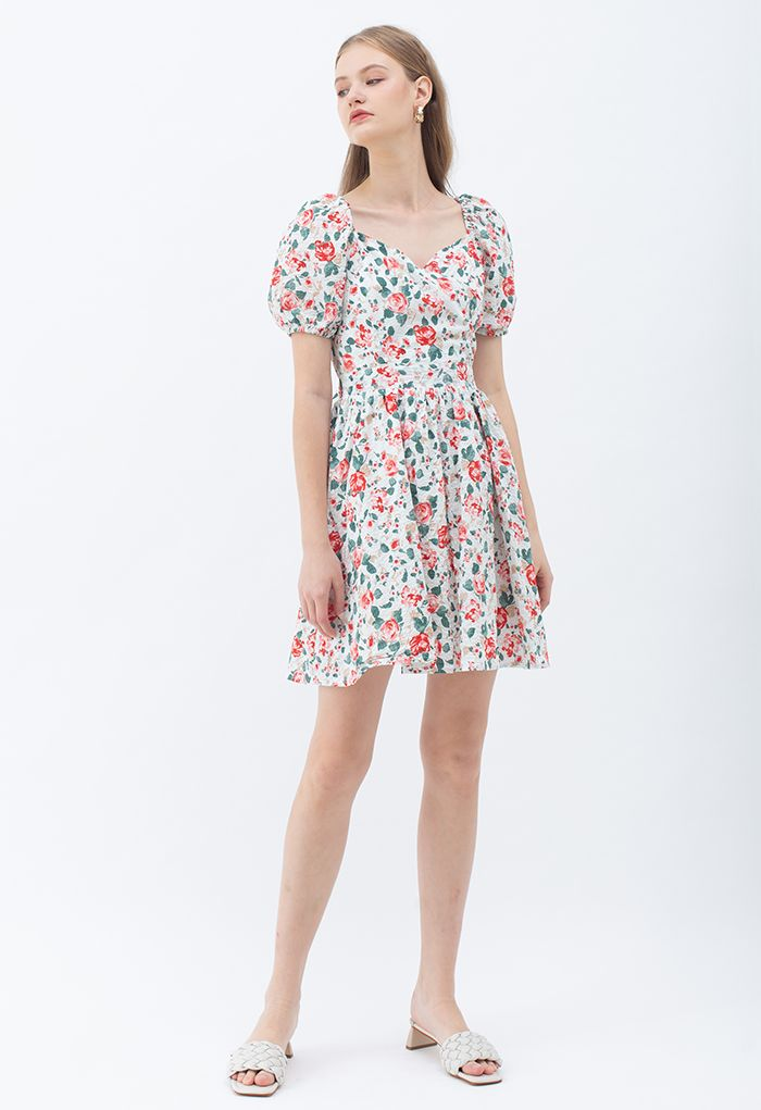 Red Rose Blossom Watercolor Tie Back Dress