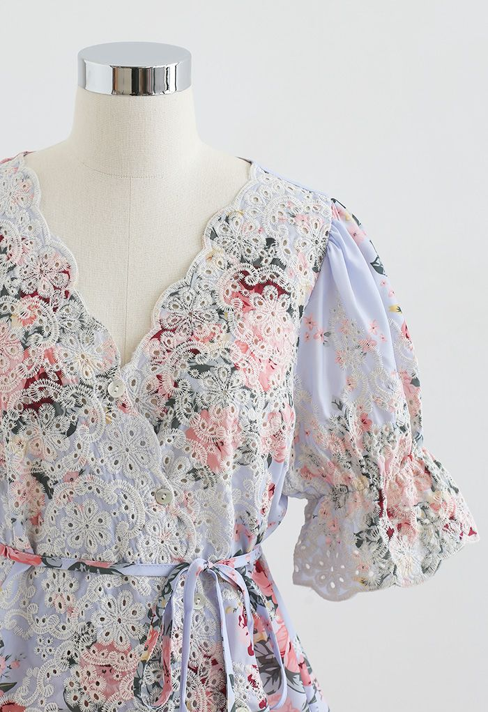 Buttoned Surplice Neck Embroidered Floral Top in Purple