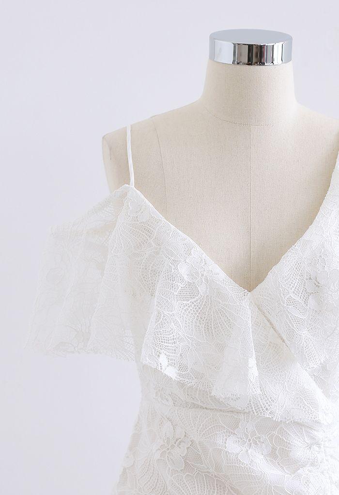 Cold-Shoulder Full Lace Frilling Dress in White