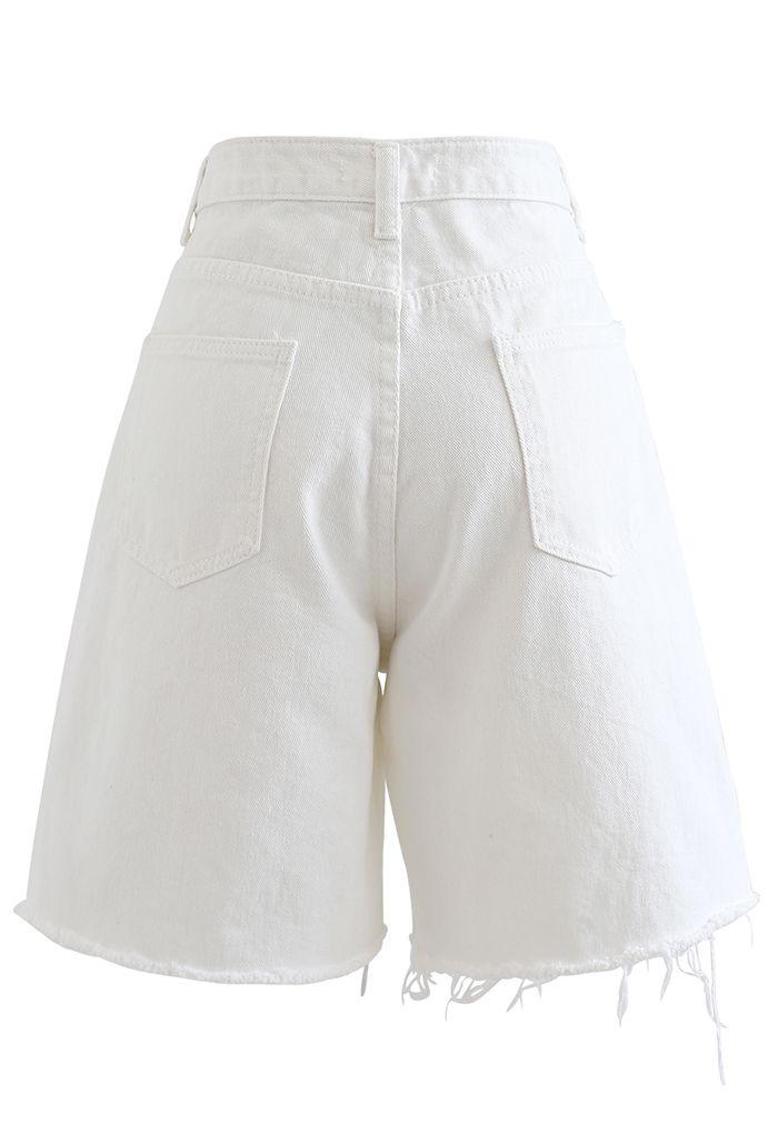 Raw Hem Relaxed Denim Shorts in White
