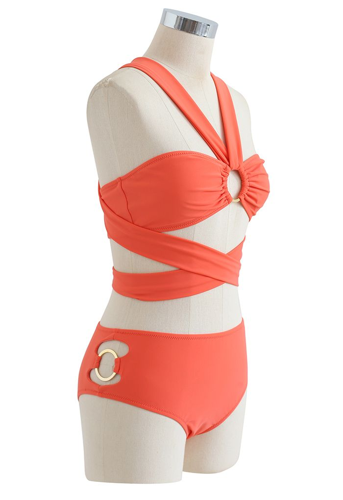 Halter Neck O-Ring Bikini Set in Orange