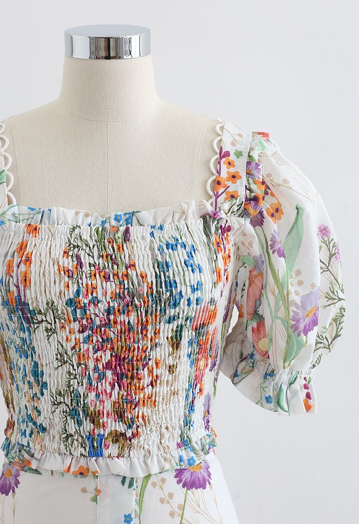 印花褶飾短上衣和前紐扣半身長裙套裝
