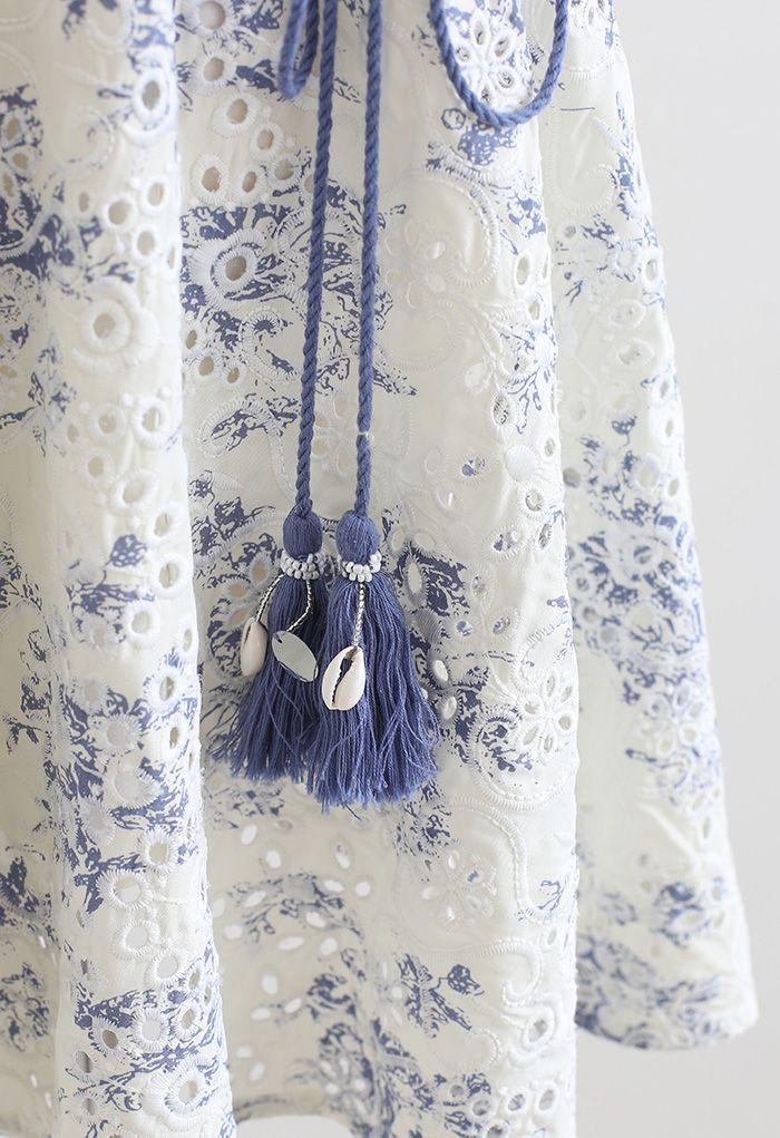 Tassel Waist Embroidered Wrapped Mini Dress