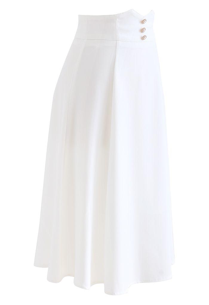 Pearly Waist Seam Detail Flare Midi Skirt in White