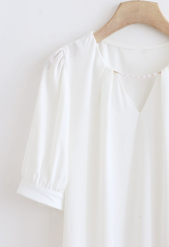 Pearly Neck Satin Shirt in White