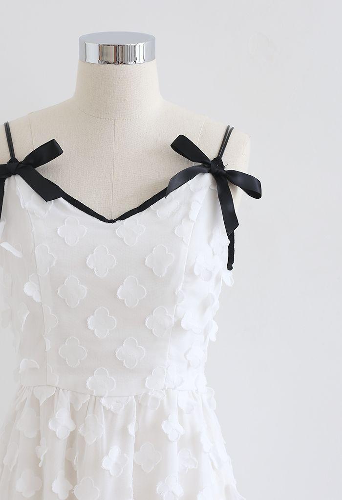 Applique Floret Mesh Cami Dress in White