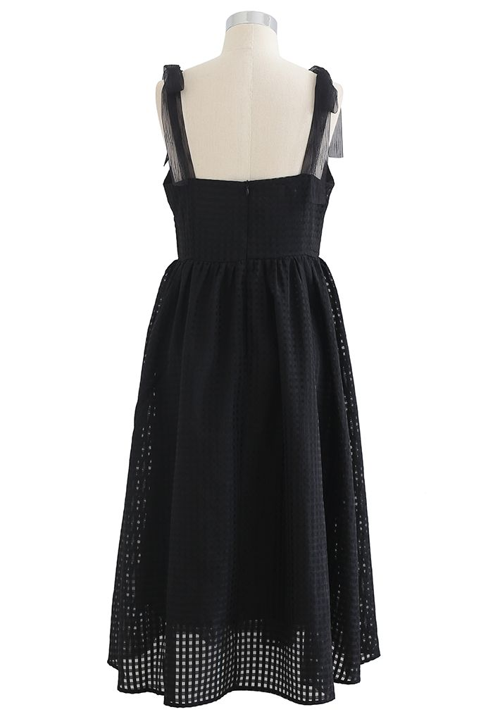 Gingham Tie-Strap Organza Dress in Black