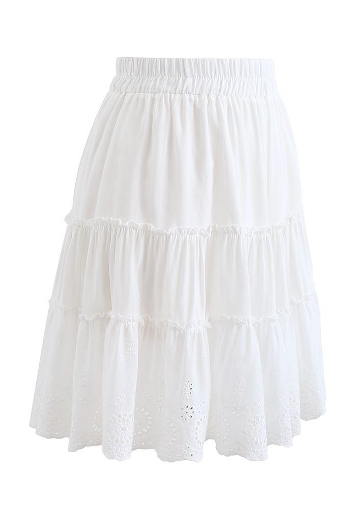 Broderie Anglaise Frill Hem Mini Skirt in White