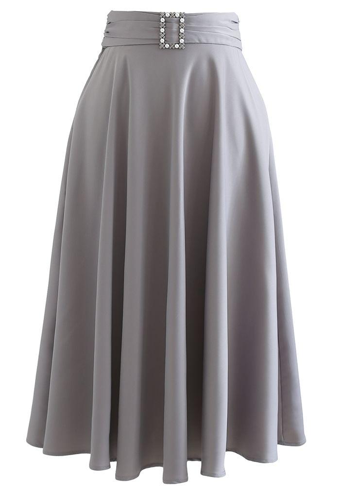 Brooch Detail Satin A-line Midi Skirt in Grey