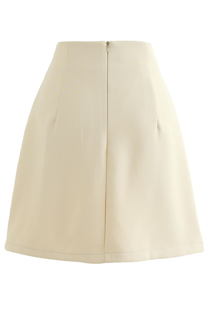 Golden Button Decorated Mini Bud Skirt in Yellow