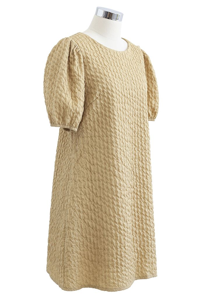 Golden Chain Detail Embossed Mini Dress in Mustard