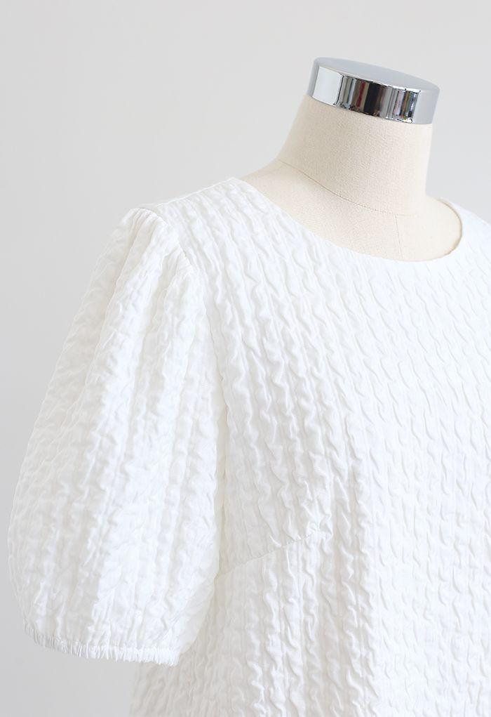 Golden Chain Detail Embossed Mini Dress in White