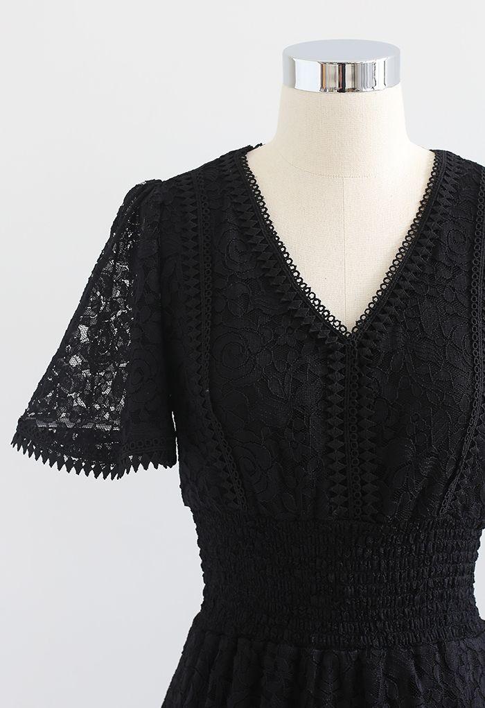 Rose V-Neck Shirred Waist Lace Dress in Black