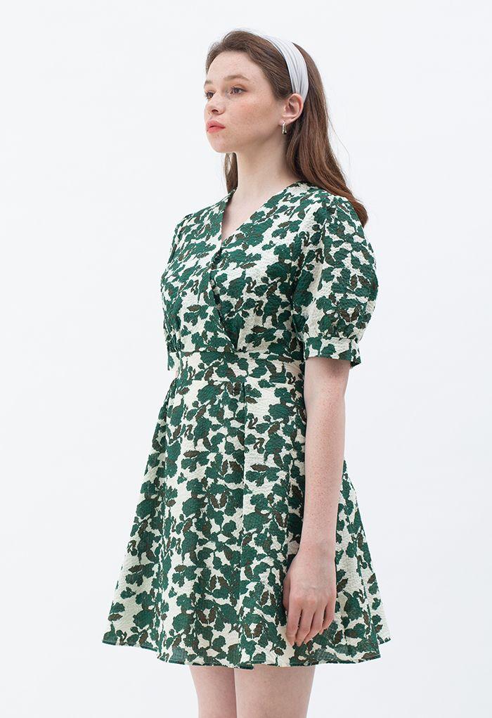 Full Leaves Print Embossed Wrap Dress