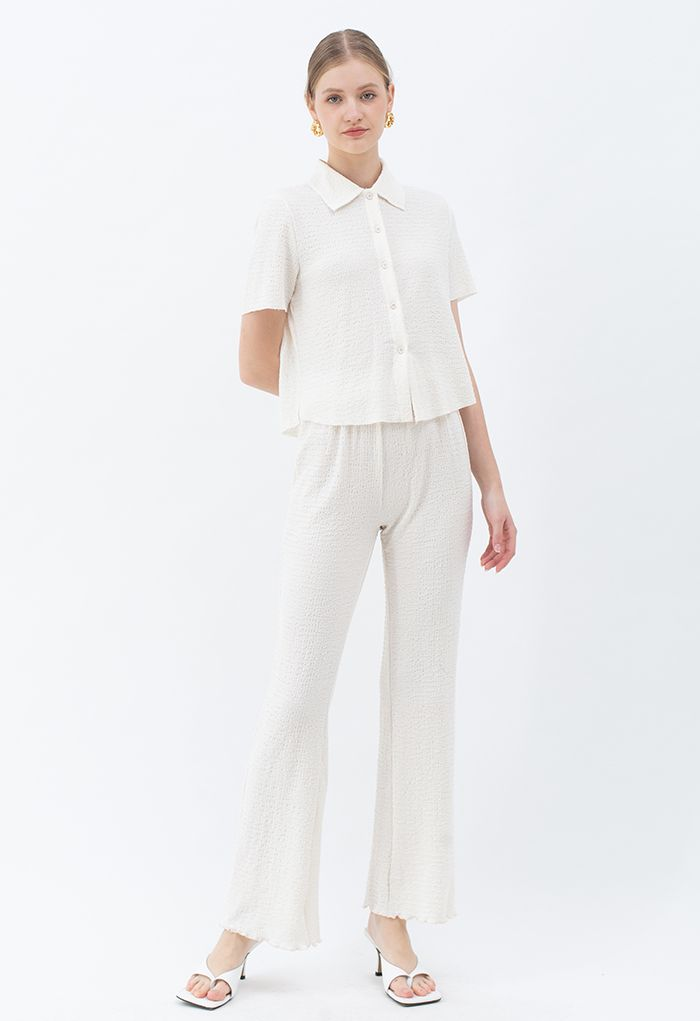 Embossed Raw-Cut Shirt and Lettuce Hem Pants Set in Ivory