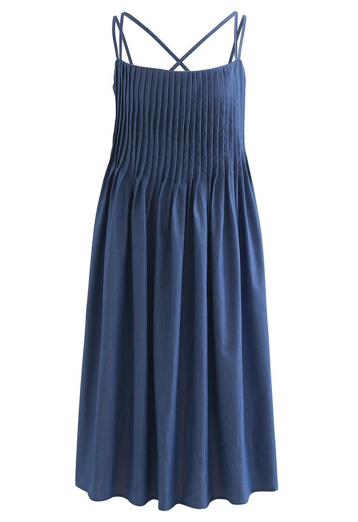 Cross Back Pintuck Front Cami Dress in Blue