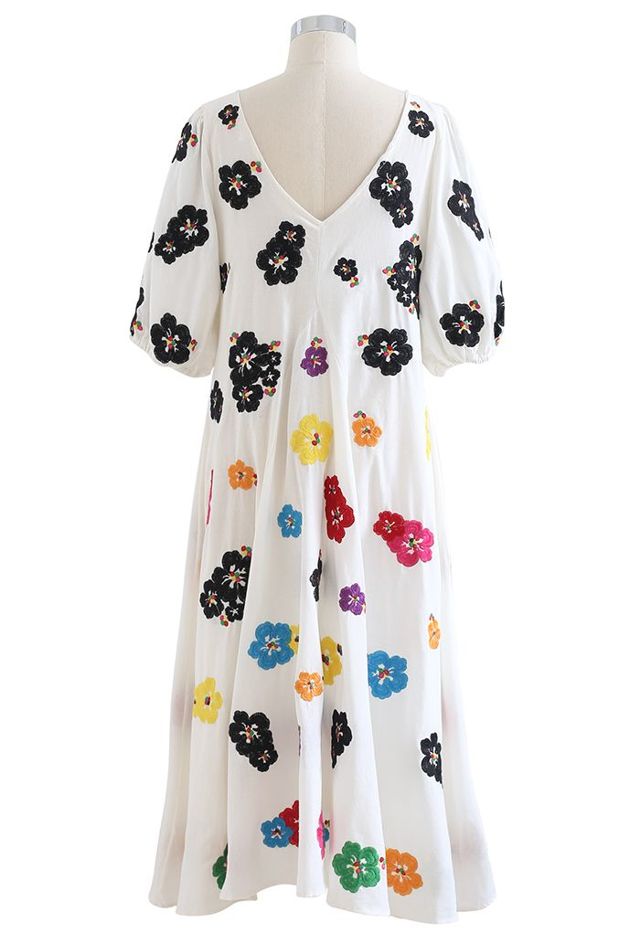 Plunging V-Neck Petal Embroidered Dolly Dress in White