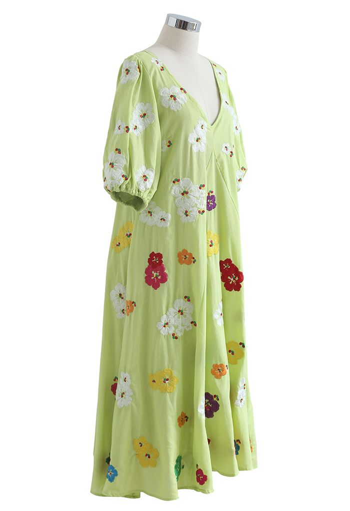 Plunging V-Neck Petal Embroidered Dolly Dress in Green