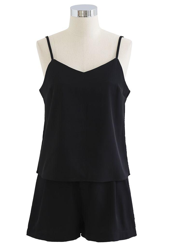 Three-Piece Blazer and Shorts Set in Black