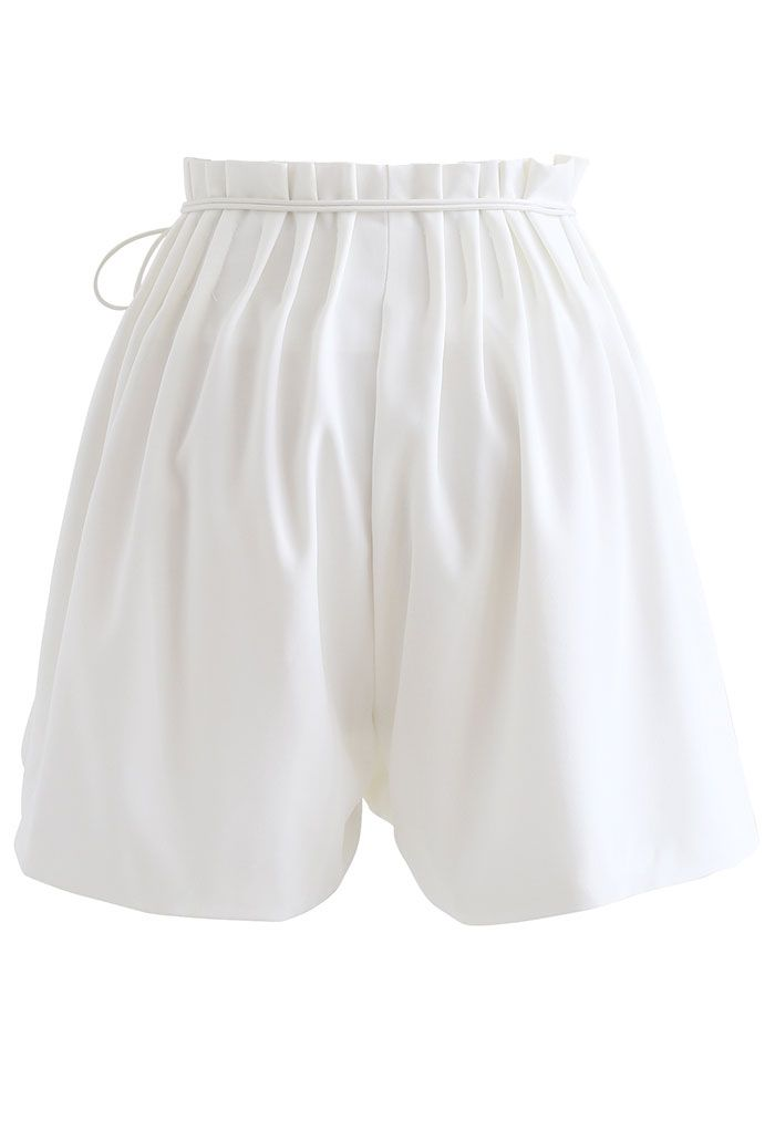 Ruched Waist Self-Tie String Shorts in White