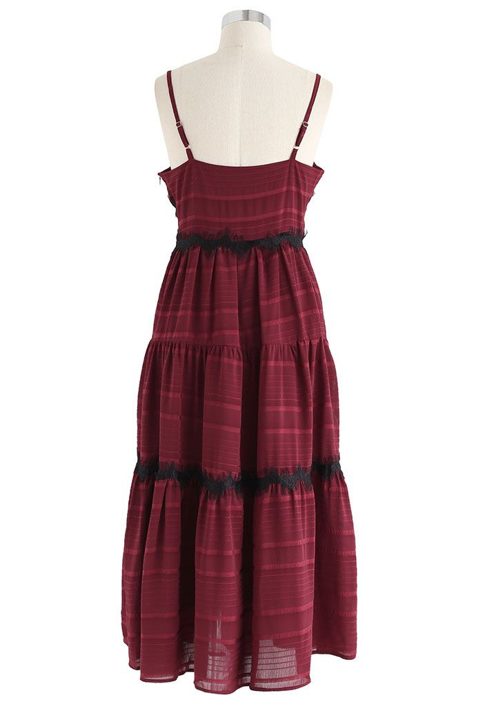 Lace Embellished Cami Dress in Wine