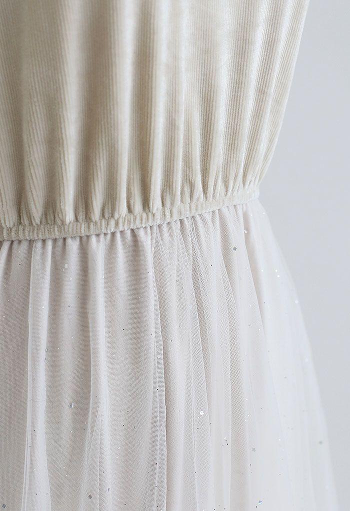 Shimmer Mesh Tulle Velvet Cami Dress in Sand