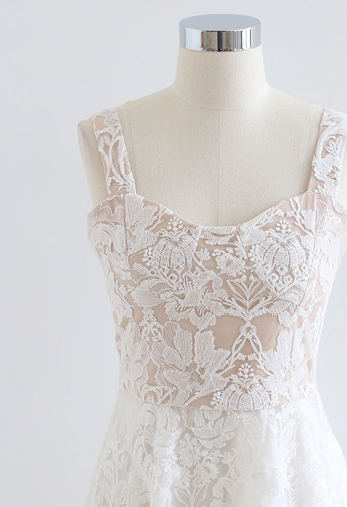 Embroidered Floral Sequin Mesh Cami Dress