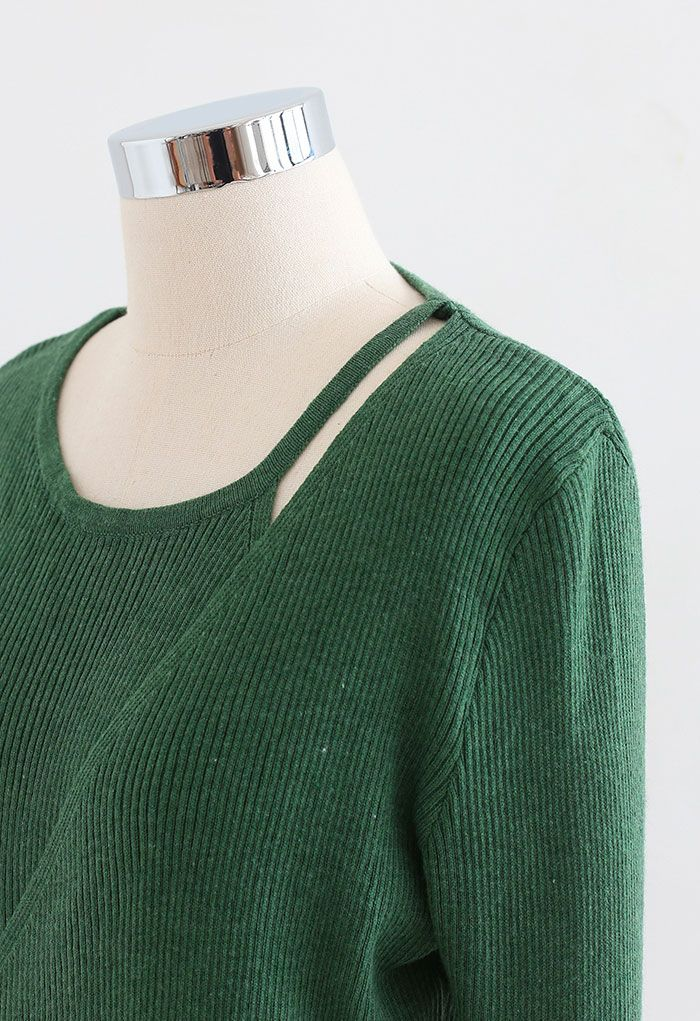Button Wrapped Knit Top in Green