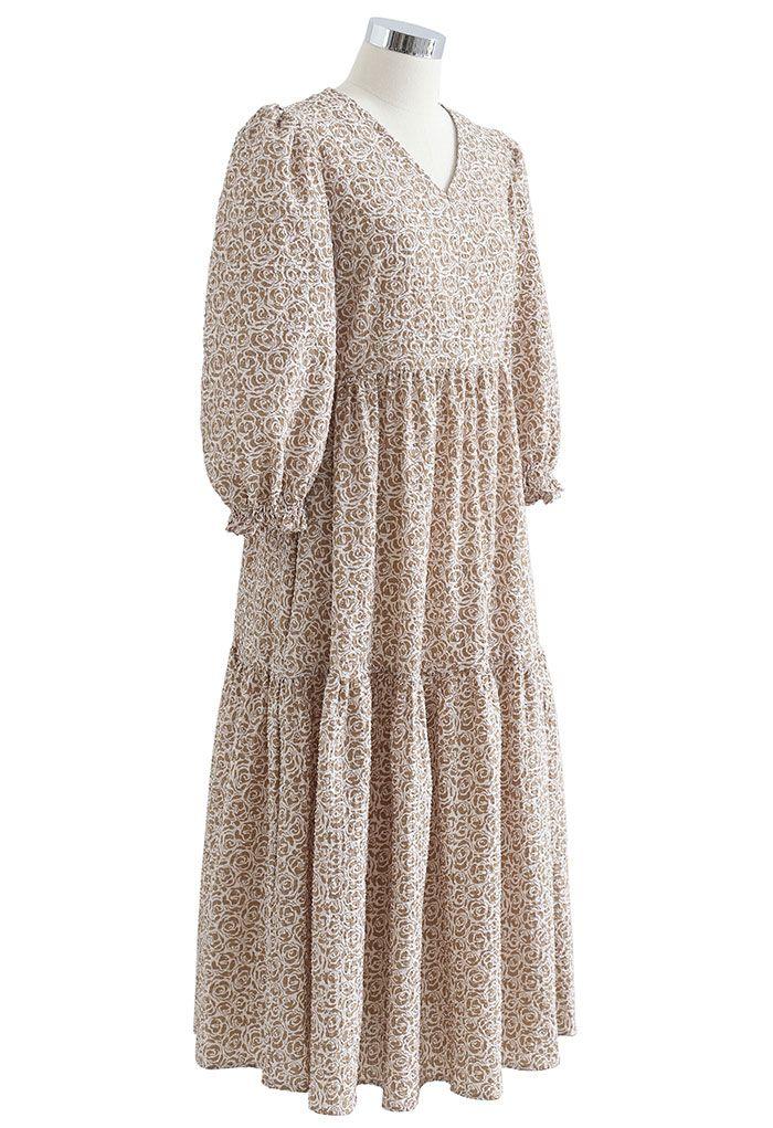 Rose Embossing Frill Hem Midi Dress in Caramel