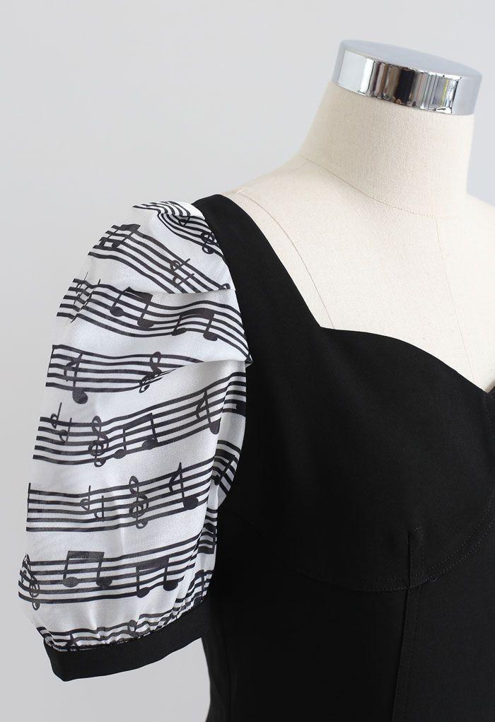 Musical Note Print Sweetheart Neck Mini Dress