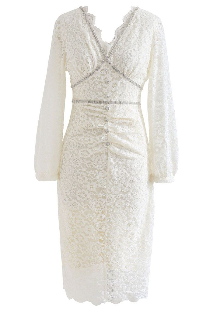 Crystal Decorated Full Lace Bodycon Dress