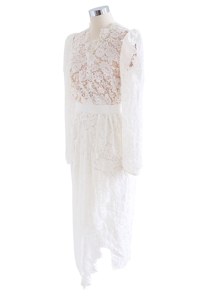 Full Lace Puff Sleeve Slit Bodycon White Dress