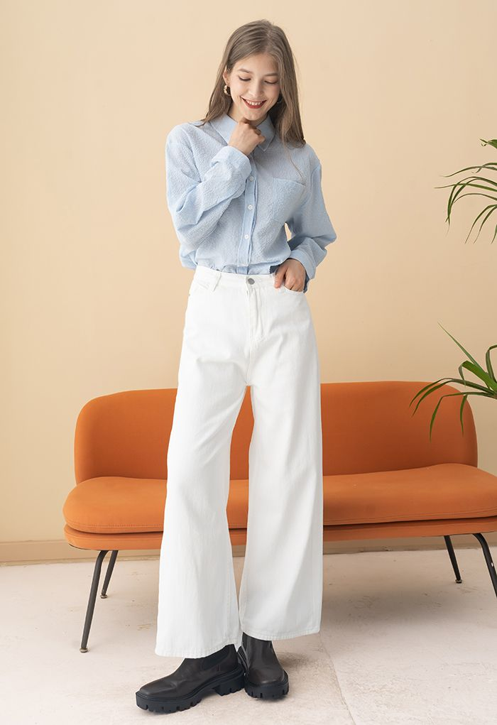 Embossed Button Down Hi-Lo Shirt in Blue