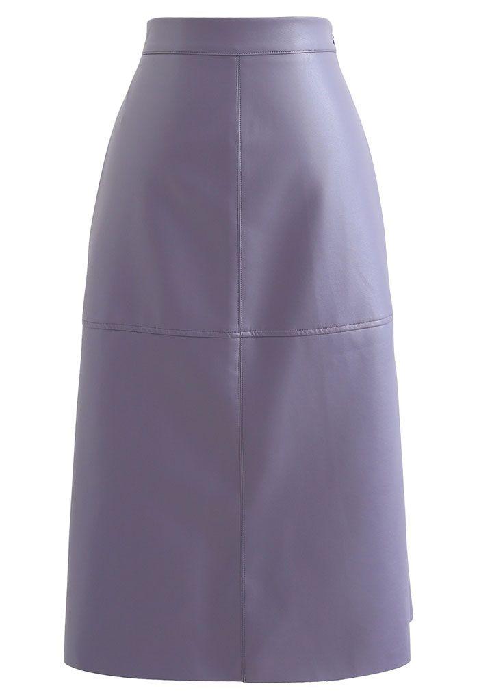 Raw-Cut Hem Faux Leather Pencil Skirt in Purple