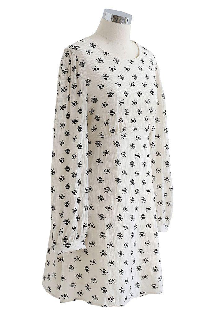 Velvet Posy Bowknot Cutout Back Mini Dress