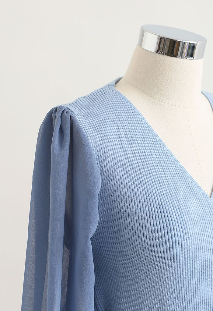 Knit Spliced Self-Tie Pleated Wrap Midi Dress in Blue
