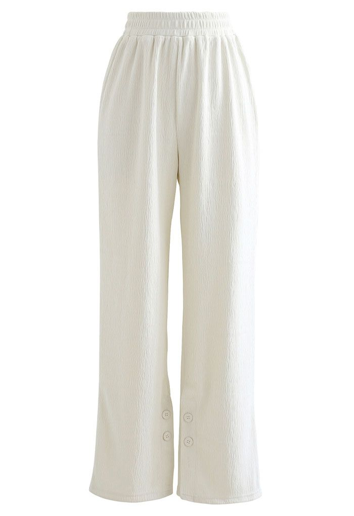 Buttoned Slit Cuffs Straight Leg Pants in Ivory