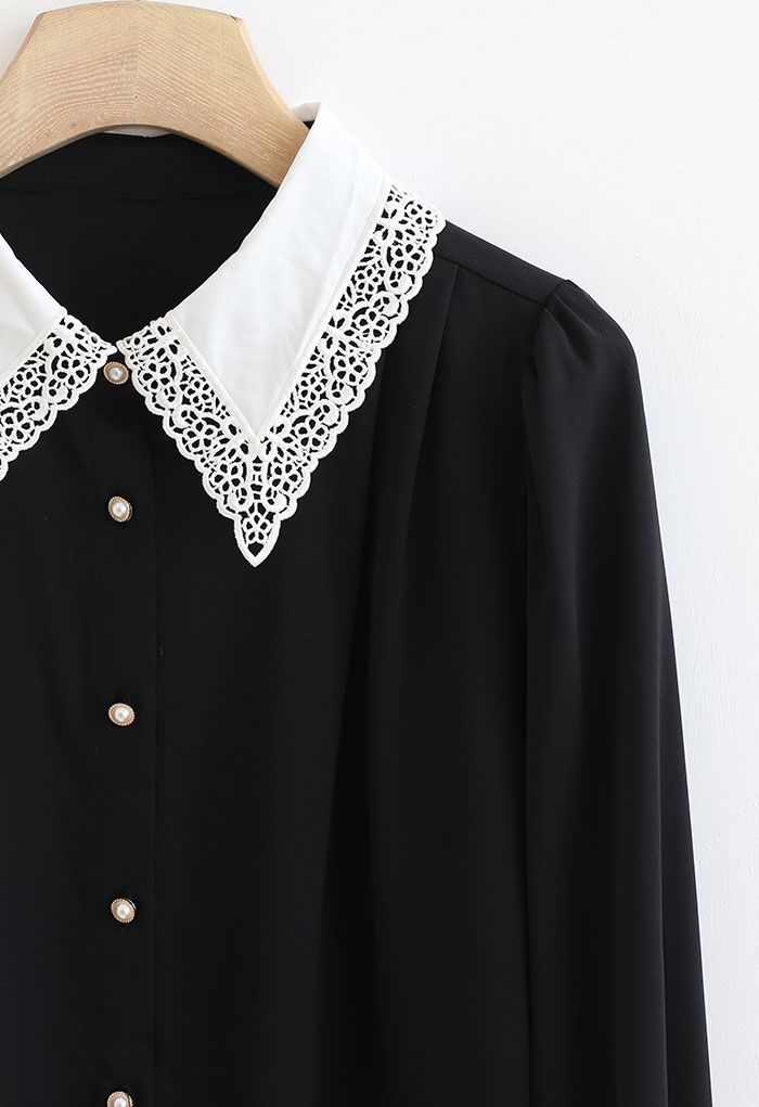 Lacey Collar Button Down Sleek Shirt in Black