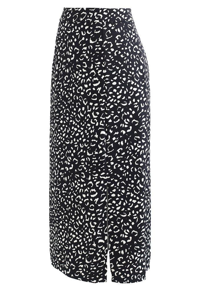 Front Slit Animal Print Midi Skirt in Black