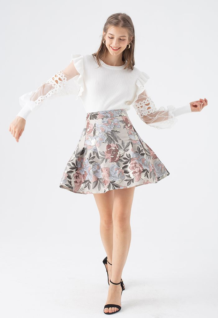 In Bloom Jacquard Flare Mini Skirt in Sand