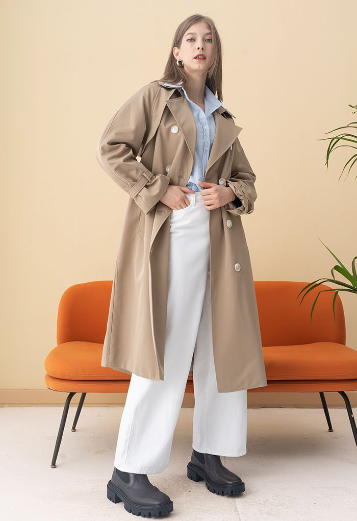 Double-Breasted Belted Trench Coat in Tan