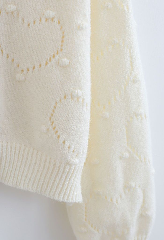 Lovely Heart Button Down Knit Cardigan in White