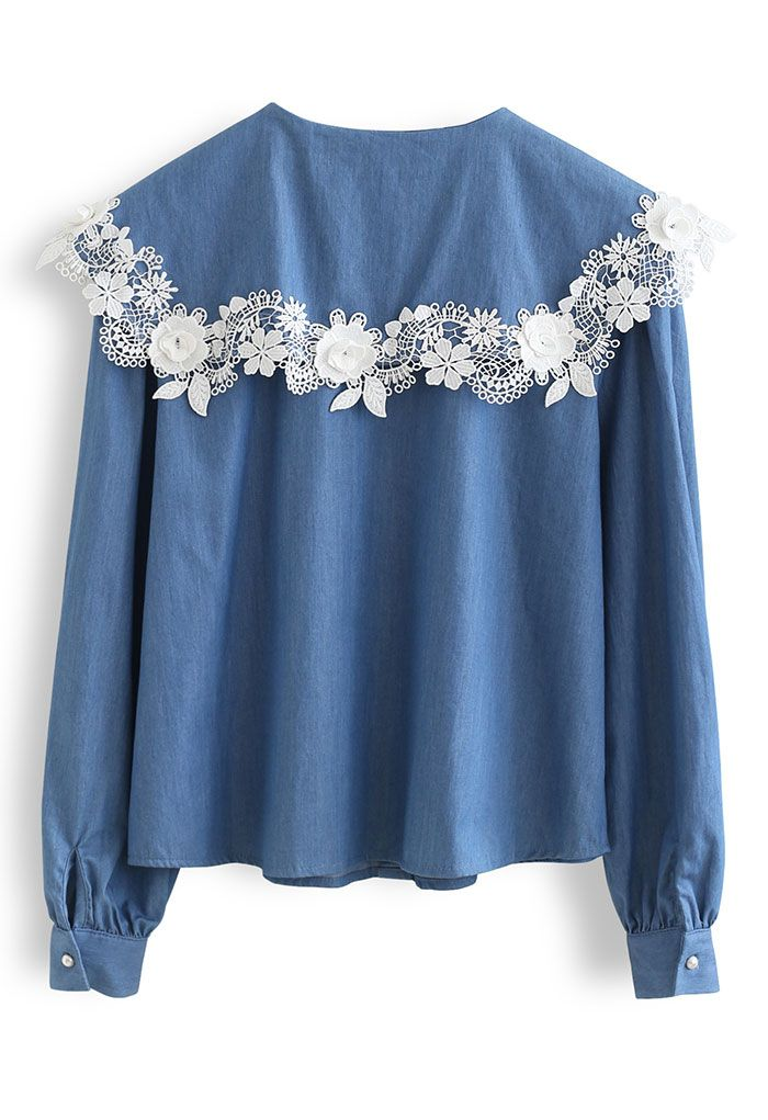 Lace Applique Peter-Pan Collar Chambray Shirt
