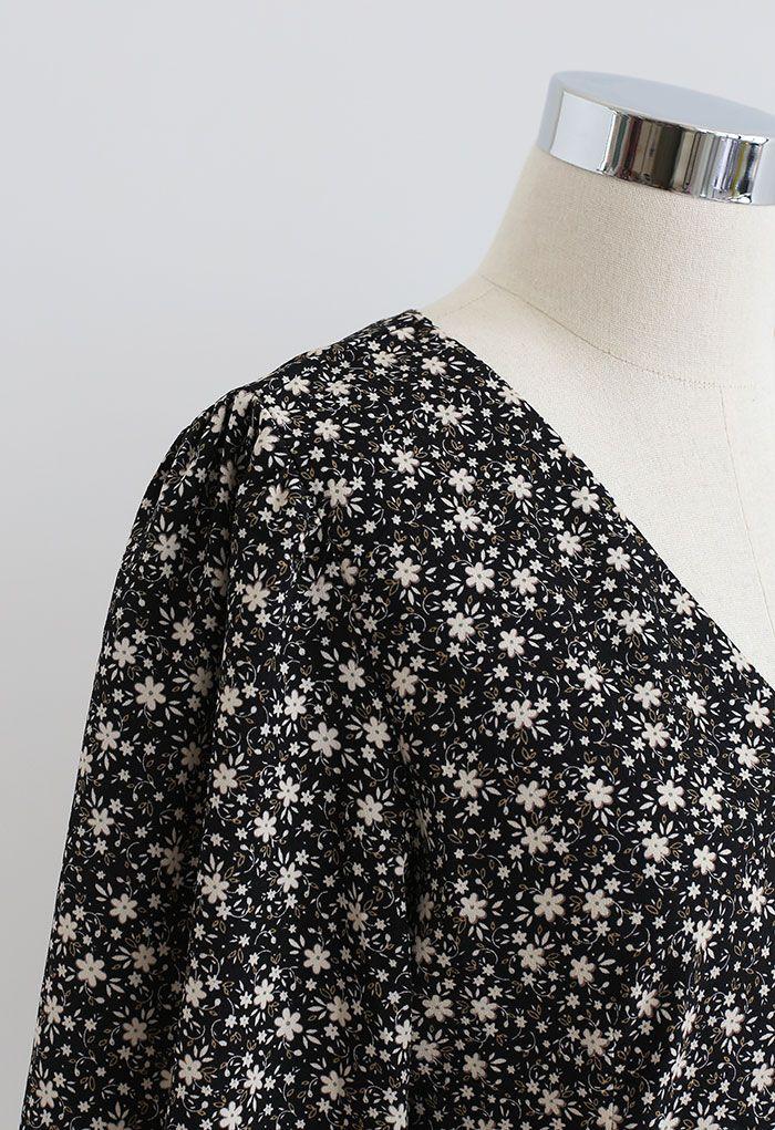 Drawstring Front Daisy Print Flare Dress in Black