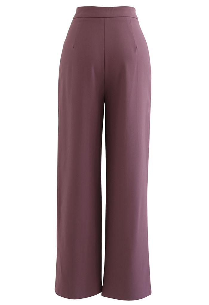 Seam Detailing Straight Leg Pants in Berry