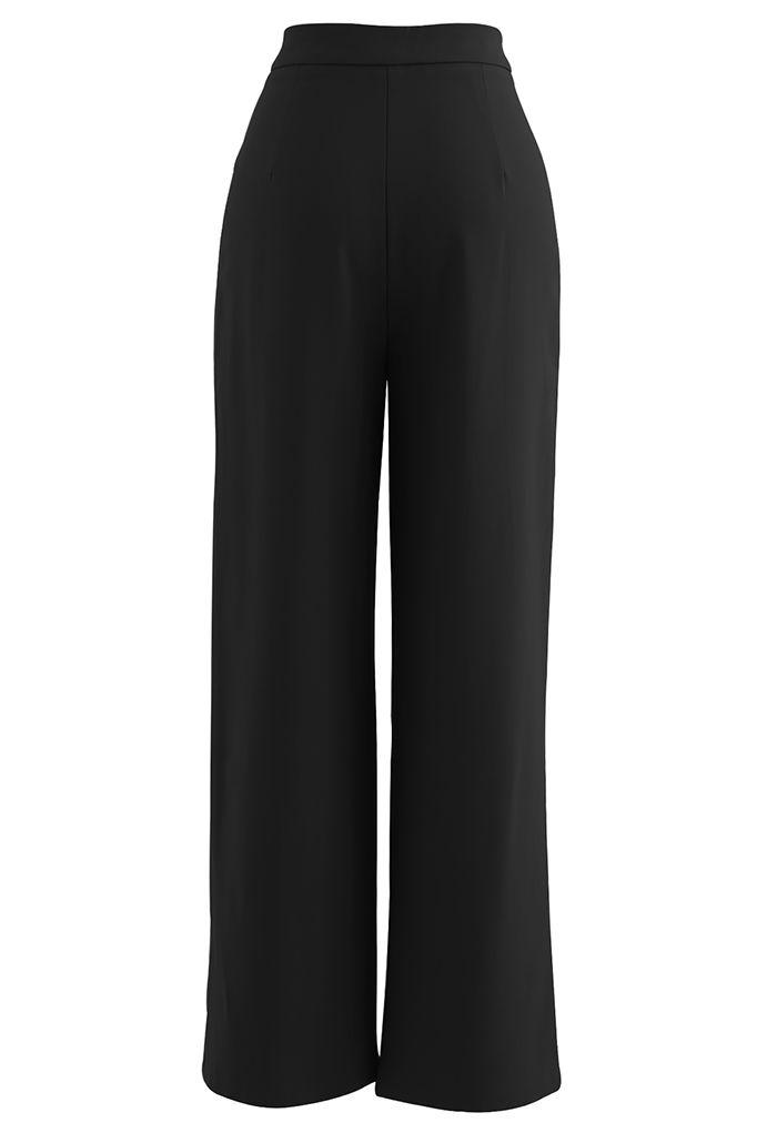 Seam Detailing Straight Leg Pants in Black