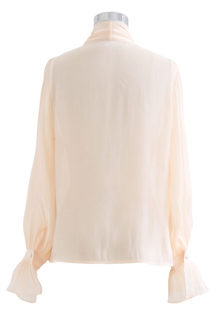 Glossy Tie Neck Button Down Shirt in Nude Pink